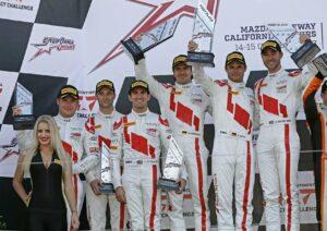 Christopher Mies, Christopher Haase, Connor De Phillippi, Markus Winkelhock, Pierre Kaffer, Kelvin van der Linde - California 8 Hours 2017 - Intercontinental GT-Challenge