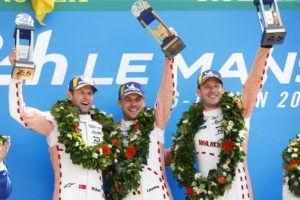 Porsche GT Team (92), Michael Christensen (DK), Laurens Vanthoor (B), Kevin Estre (F) (l-r), Le Mans 2018