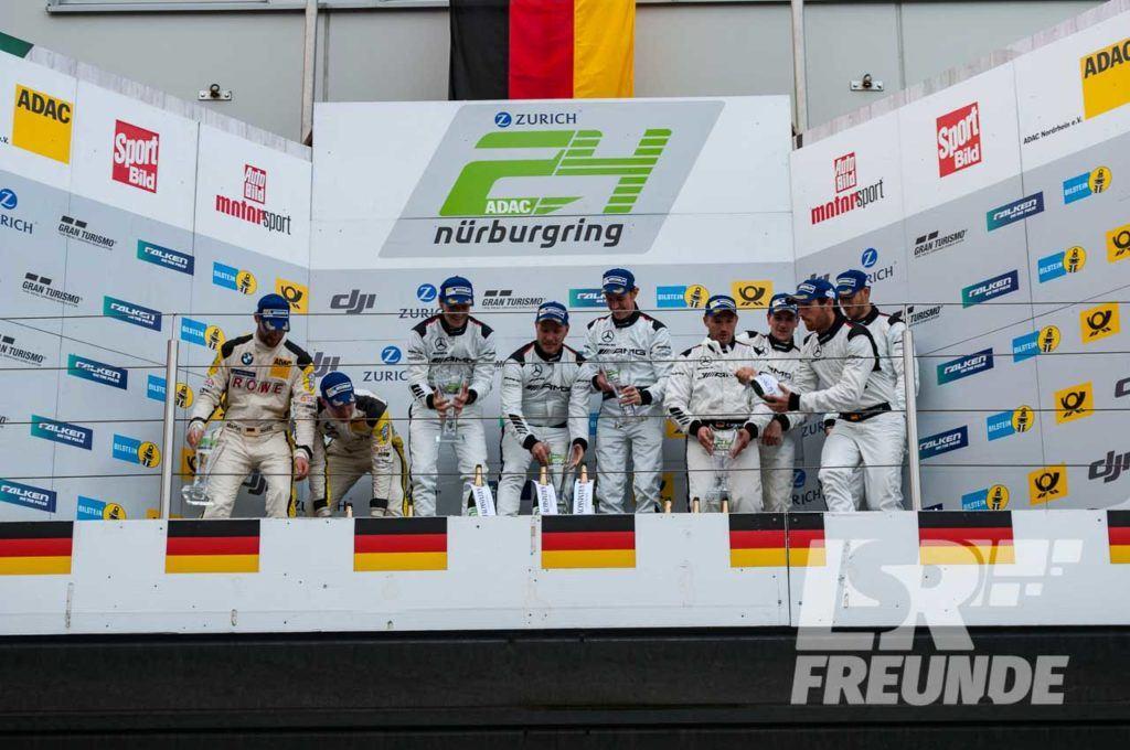 Podium N24h Qualifikationsrennen mit Black Falcon, ROWE Racing und HTP-Motorsport