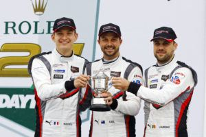 Porsche GT Team: Mathieu Jaminet, Earl Bamber, Laurens Vanthoor (l-r)