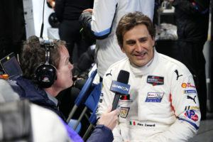 Daytona, 27th January, IMSA WeatherTech Sportscar Championship 2019, Rolex 24 at Daytona, Daytona International Speedway, Daytona, FL (USA). Alessandro Zanardi (ITA), TV Interview after his last stint, BMW M8 GTE #24, BMW Team RLL pit.