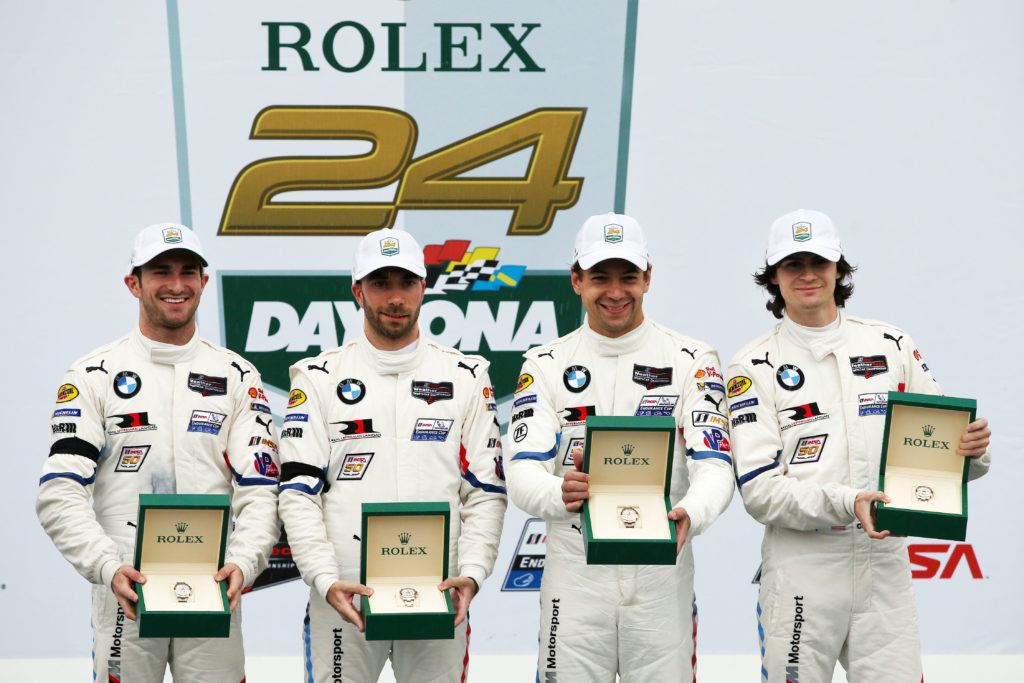 Daytona, 27th January, IMSA WeatherTech Sportscar Championship 2019, Rolex 24 at Daytona, Daytona International Speedway, Daytona, FL (USA). Winner GTLM class Connor De Phillippi (USA), Augusto Farfus (BRA), Philipp Eng (AUT),Colton Herta (USA), BMW M8 GTE #25, BMW Team RLL.