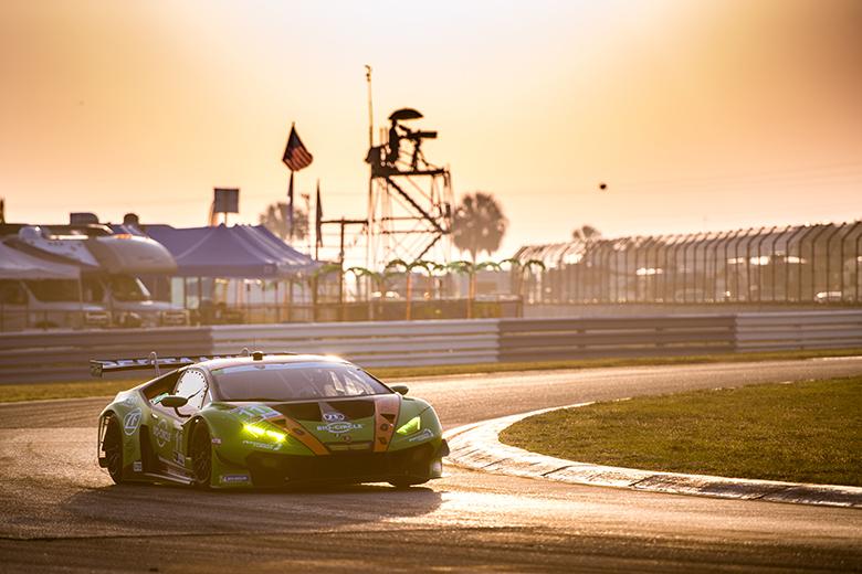 Mobil 1 12 hours of Sebring. #11 GRT Grasser Racing Team Lamborghini Huracan GT3, Orange 1 Racing, GTD: Mirko Bortolotti, Rik Breukers, Rolf Ineichen