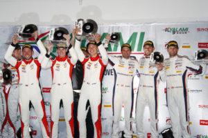 Frikadelli Racing Team (31), Nick Tandy (GB), Dennis Olsen (N), Mathieu Jaminet (F), GPX Racing (20), Richard Lietz (A), Kevin Estre (F), Michael Christensen (DK) (l-r)