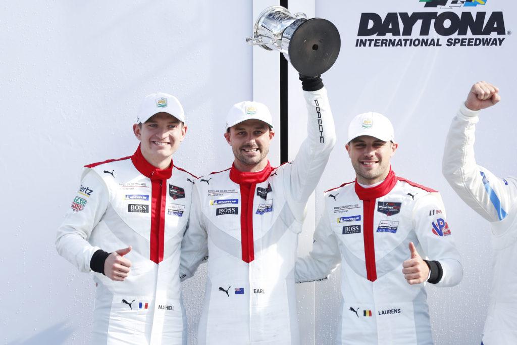 Porsche GT Team: Mathieu Jaminet (F), Earl Bamber (NZ), Laurens Vanthoor (B) (l-r)