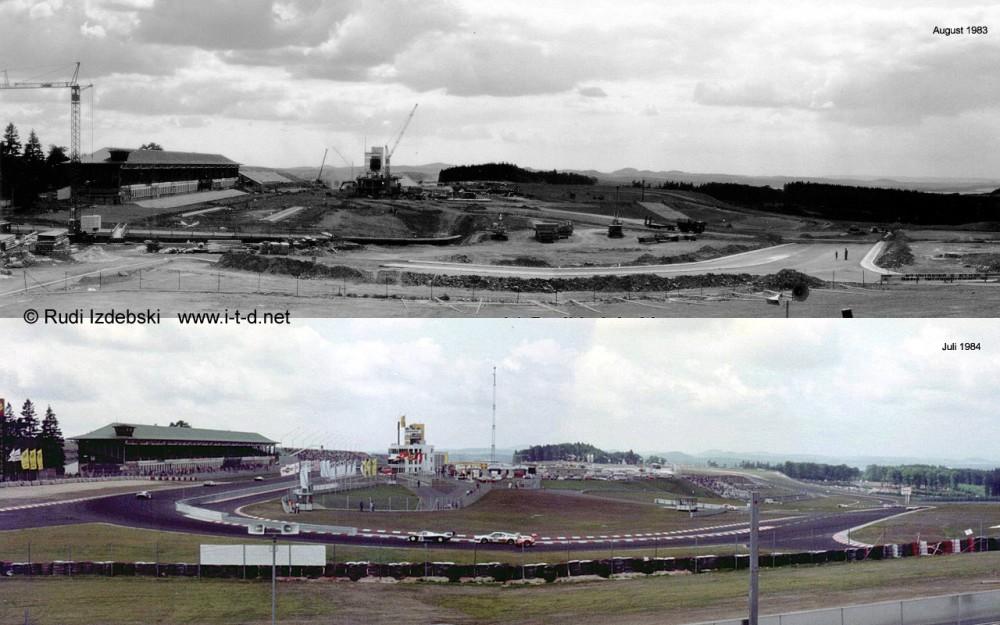 Oben: Bauarbeiten an der Grand-Prix-Strecke, unten: die fertige Strecke | Foto: Rudi Izdebski