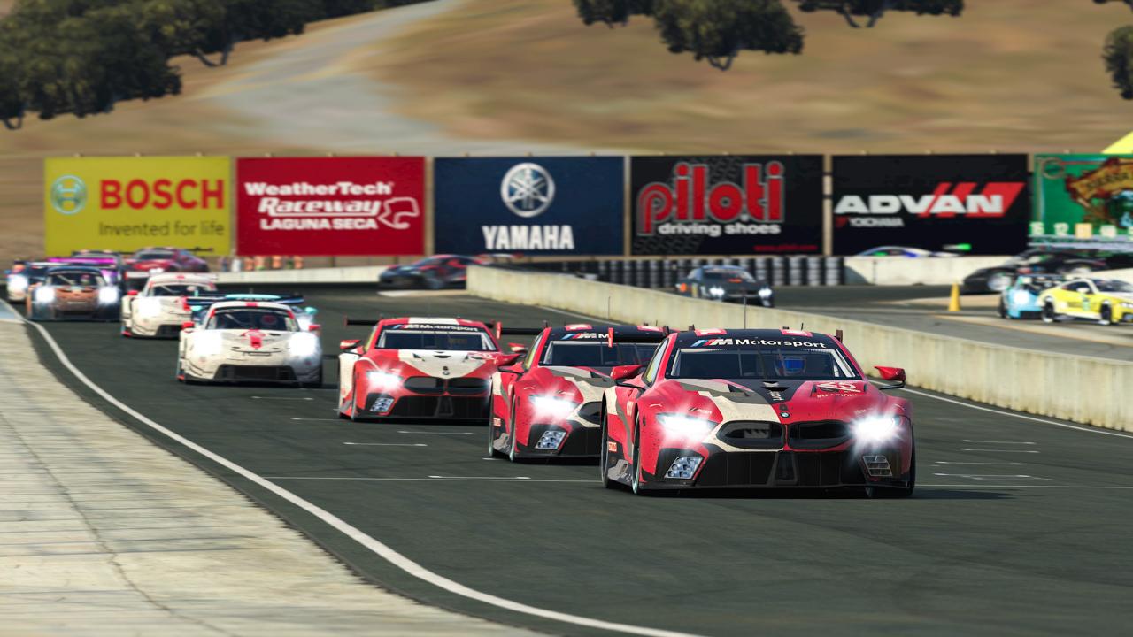 BMW M8 GTE, IMSA iRacing Pro Series, sim racing, virtual, Laguna Seca.