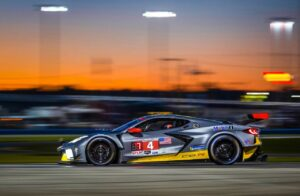 The #4 Mobil 1/SiriusXM Chevrolet Corvette C8.R driven by Tommy Milner, Oliver Gavin and Marcel Fässler race to a seventh place finish in the GTLM class Saturday and Sunday, January 25-26, 2020 during the 24-hour IMSA WeatherTech SportsCar Championship's Rolex 24 at Daytona in Daytona Beach, Florida. This is the first race for the new, first-ever mid-engine Corvette C8.R.