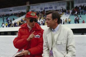 Niki Lauda und Hans Mezger, ca. 1984.