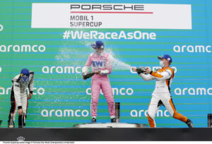 Podium, Ayhancan Güven (TR), Martinet by Almeras, Dylan Pereira (L), BWT Lechner Racing, Larry ten Voorde (NL), Team GP Elite, Porsche Mobil 1 Supercup, Budapest 2020,