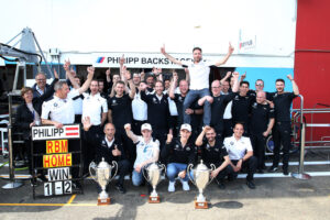 Zolder (BEL), 18th May 2019. BMW M Motorsport, DTM Rounds 3 & 4,  Bart Mampaey (BEL) Team Principal BMW RBM, 2nd Place Driver Joel Eriksson (SWE), Sheldon van der Linde (RSA), Winner Philipp Eng (AUT) and team member.