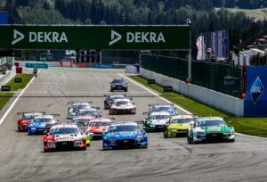 2020 DTM Spa; Start, 33 Rene Rast (GER), Audi Sport Team Rosberg, 04 Robin Frijns, (NED), Audi Sport Team Abt Sportsline, 51 Nico Müller (SUI), Audi Sport Team Abt Sportsline