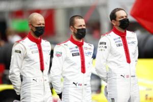 Porsche GT Team (#91), Gianmaria Bruni (I), Frederic Makowiecki (F), Richard Lietz (A) (l-r) 24h Le Mans 2020