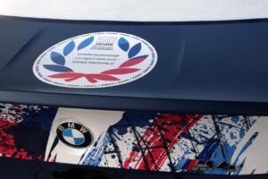 """Nürburgring (GER), 24th September 2020. BMW M Motorsport, 24h Nürburgring, Nordschleife, #73 BMW M4 GT4, BMW Junior Team,Dan Harper (GBR), Max Hesse (GER), Neil Verhagen (USA), with """"Thank you Marshals"""" sticker."""