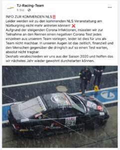Screenshot TJ Racing Team Facebook Kanal