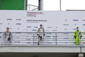Podium: Larry ten Voorde (NL), Nebulus Racing by Huber, Dylan Pereira (L), Förch Racing, Leon Köhler (D), T3/HRT Motorsport, Porsche Carrera Cup Deutschland, Sachsenring 2020