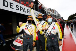 24 Hours of Spa Rowe Racing (#98), Laurens Vanthoor (B), Earl Bamber (NZ), Nick Tandy (GB) (l-r)