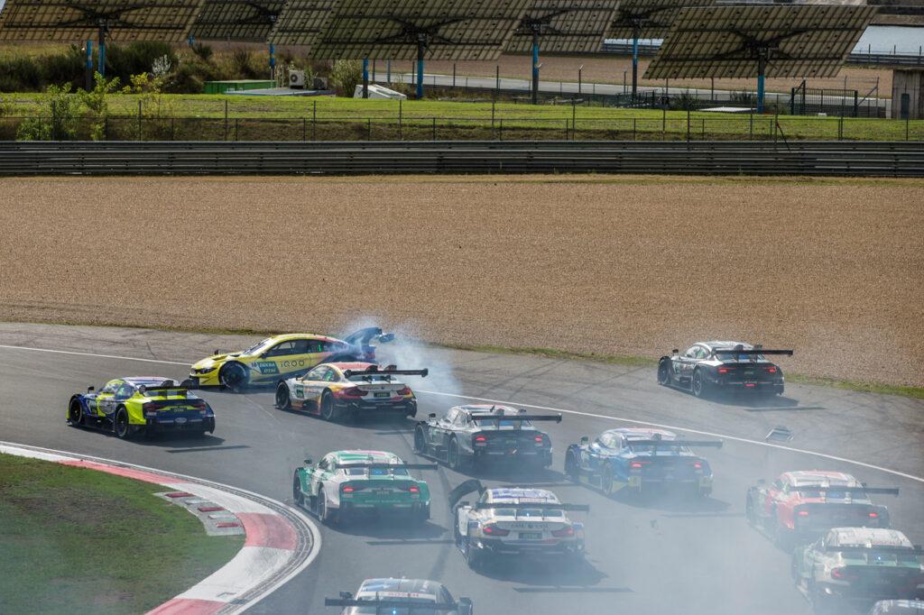 16 Timo Glock (GER, BMW Team RMG, BMW M4 DTM) spinning after having contact with 62 Ferdinand Habsburg (AUT, WRT Team Audi Sport, Audi RS 5 DTM), 2020 DTM Zolder;