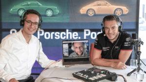 "Sebastian Rudolph, Porsche-Kommunikationschef, Smudo, Rapper, André Lotterer, Porsche-Werksfahrer, l-r, Podcast ""9:11"""