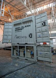 AFC Energy in Harrier hangar, Dunsfold Aerodrome, Cranleigh Surrey - Extreme E