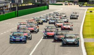 Porsche 911 GT3 Cup, Alejandro Sanchez (E), #47, Jamie Fluke (GB), #49, Porsche TAG Heuer Esports Supercup, 2020, Start Rennen 1