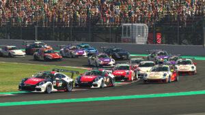 Porsche 911 GT3 Cup, Start, Joshua Rogers (AUS), #92; Mitchell DeJong (USA), #24, Porsche TAG Heuer Esports Supercup, 2021