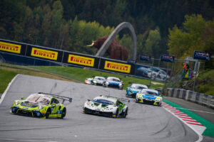 Competitors race during the ADAC GT Masters 2020 in Spielberg, Austria on October 18, 2020
