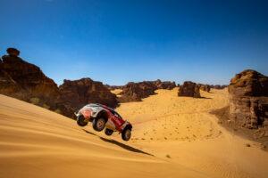 ALULA, SAUDI ARABIA - APRIL 03: Laia Sanz/Carlos Sainz (ESP), Acciona   Sainz XE Team during the Desert X-Prix at AlUla on April 03, 2021 in AlUla, Saudi Arabia. (Photo by Colin McMaster / LAT Images)