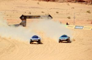 ALULA, SAUDI ARABIA - APRIL 04: Sara Price (USA)/Kyle Leduc (USA), Segi TV Chip Ganassi Racing and Claudia Hurtgen (GER)/Mattias Ekstrom (SWE), ABT CUPRA XE during the Desert X-Prix at AlUla on April 04, 2021 in AlUla, Saudi Arabia. (Photo by Steven Tee / LAT Images)
